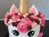 Unicorn cake with cone horn