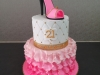 21st birthday cake with icing shoe