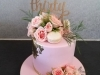 30th Birthday cake with roses & macaroons