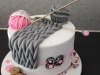 Knitting themed cake for 80th birthday
