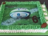 Rugby themed edible print slab cake