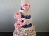 5 tier wedding cake in champagne, naby & blush pink