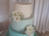 Buttercream covered in mint ombre with fresh flowers