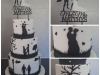 Silhouette wedding cake with special topper