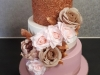 Wedding cake in rose gold, dusty pink, white & silf flowers